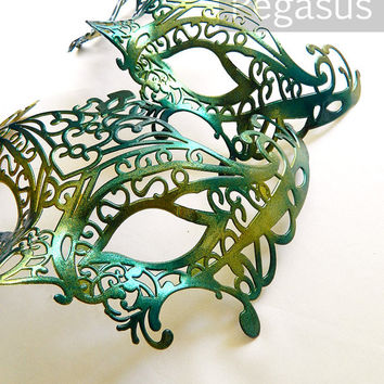 Masquerade Mask base (1 Mask) Sea Nymph GREEN DIY Ballroom masquerade mask for a Mardi Gras, Halloween, Wedding, New year or Costume Party