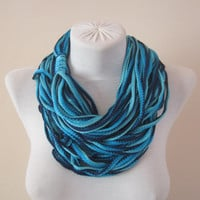 Scarf,Knited Lariat Necklace,Fiber Scarf,Crochet Scarf
