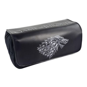 Game Movie Logo  Bag Game of Thrones High-capacity Double Zipper Pencil Purse Leather Cosmetic Bags Fashion Anime