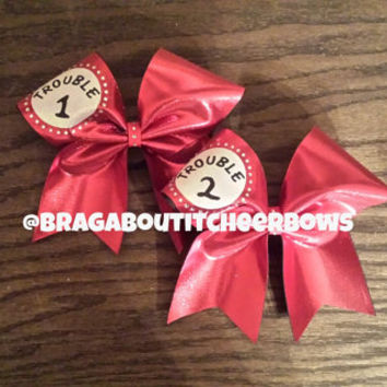trouble 1 trouble 2 cheer bow with rhinestones