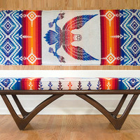 Mid Century Adrian Pearsall Style Vintage Camp Blanket Upholstered Bench