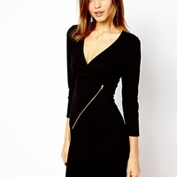 Warehouse Zip Wrap Biker Dress