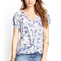 Knotted Floral V-Neck Tee