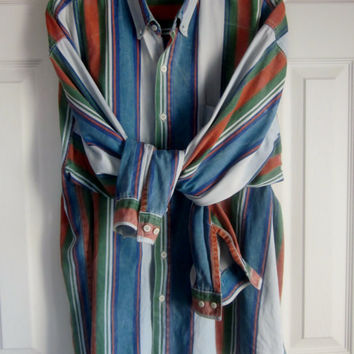 Vintage Striped Shirt, Button Down Collar, Orange Green Blue Grey Stripes Denim, Mens XL, Colorful Preppy Shirt