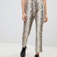 Wild Honey zip front pants in snake at asos.com