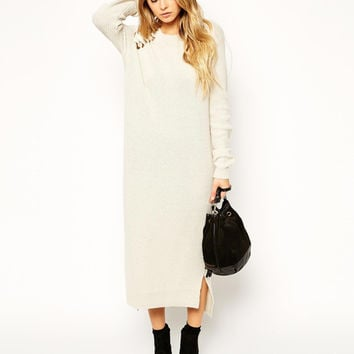 Off-White Knit Long Sleeve Maxi Dress