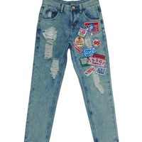 Hole Badges Patch Harem Jeans