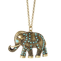 Turquoise Studded Antique Gold Elephant Pendant Necklace