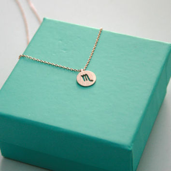 Dainty Circle Coin 12 Constellation  Scorpio  Necklace