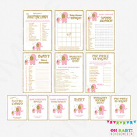 Pink Gold Baby Shower Games Bundle, games pack, elephant baby shower game pack, baby shower games girl sign Printable Download EL0004-lpg
