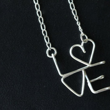 Love Necklace : Delicate Silver Plated Love Charm Necklace, Handwritten, Cursive, New York City, Stacked, Heart, L.O.V.E