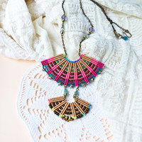 Bohemian macrame necklace, colorful beaded fan, micro-macrame jewelry, beaded statement necklace, bright summer fashion, layer necklace