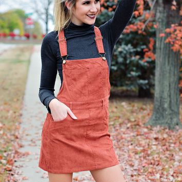 * The Best Ive Ever Had Overall Skirt: Rust