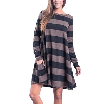 Long Sleeve Striped Loose Casual Swing Tunic Dress With Pockets