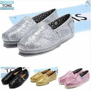 new toms womens classic slip on glitter flats ladies shoes more color