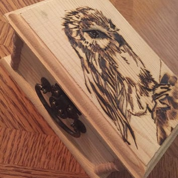 Owl wood burned trinket box