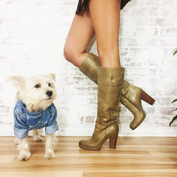 Vintage Tall KNEE HIGH Leather Stacked Heel Wheat Tan Brown Boots    Size 7.5 to 8