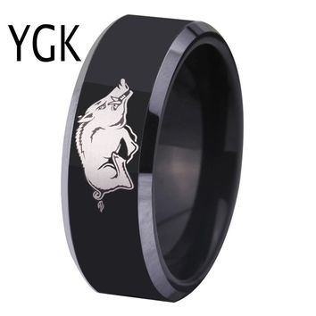 Free Shipping Customs Engraving Ring Hot Sales 8MM Black With Shiny Edges Razorbacks Design Men's Fashion Tungsten Wedding Ring