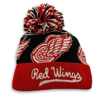 Detroit Red Wings CCM Repeating Logo Cuffed Pom Knit Hat