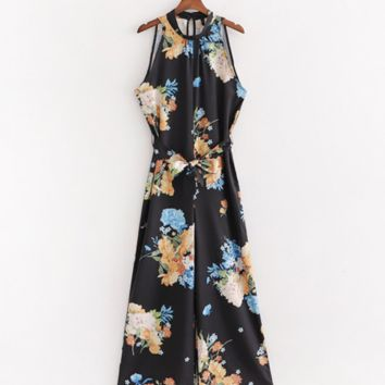Women's fashion casual hanging neck belt flower print jumpsuit female