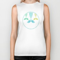 Mermaids and Stripes Biker Tank by Lisa Argyropoulos