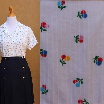 Vtg Large dot blouse floral multicolored button up short sleeve cute pattern wide collar pleating