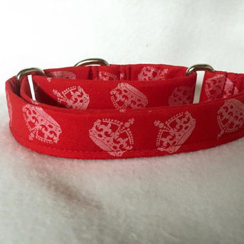 "Hollywood Sparkle Crowns Red Martingale or Quick Release Collar 5/8"" Quick Release 3/4"" 1"" Martingale Collar, 1.5"" Martingale Collar 2"""