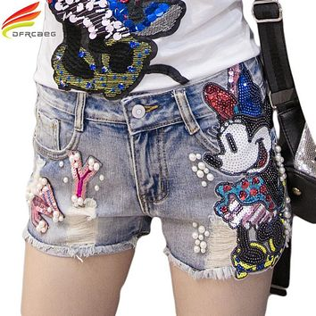 Summer 2017 Women Short Jeans Casual Embroidered Flare Denim Shorts Fashion High Waisted Jeans Shorts Sexy Sequin Cartoon Shorts
