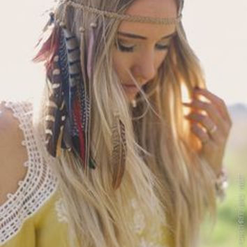 Feather Headband Tan Braided Elastic With LOTS Of Natural Colored Feathers Festival Headdress Tribal Hippie Boho Free Spirit