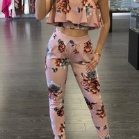 Floral Print Off Shoulder Two Piece Jumpsuit