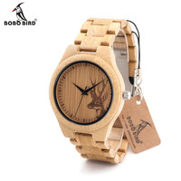 BOBOBIRD Natural Bamboo Wood Watches With Deer Head Engrave With Bamboo Strap Japanese 2035 Movement For Gift
