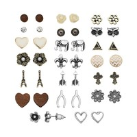 SO Flower, Wishbone, Owl, Heart, Triangle, Elephant, Fleur de Lis, Chevron, Cross, Arrow & Eiffel Tower Stud Earring Set