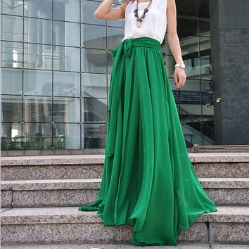 Plus Size Maxi Skirt Chiffon Silk Skirts Beautiful Bow Tie Green Elastic Waist Summer Skirt Floor Length Long Skirt (037),#104