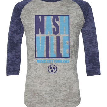 Nashville Block Vintage Burnout Baseball Tee