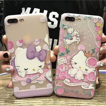 Cute Cartoon Hello Kitty Cat Animal Soft TPU Clear Gel Phone Case Back Cover Skin Bumper For iPhone