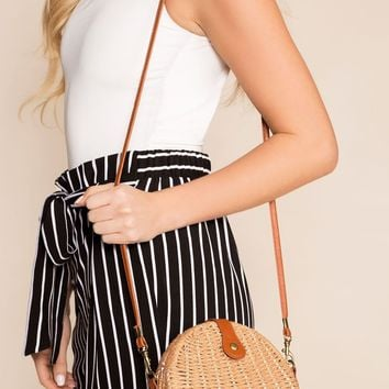 On Vacay Tan Woven Crossbody Purse