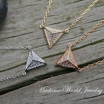 Clear CZ Spiky Triangle Pyramid Necklace
