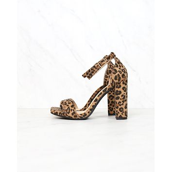 Animal Print Single Band Ankle Strap Block High Heels in Cheetah