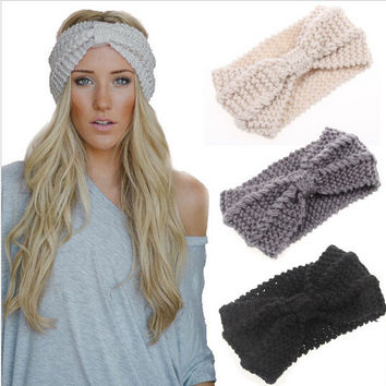 Cute Hippy Style Headband Bow Crochet Turban Head Wrap. 733af686744