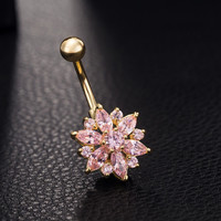 Brand Fashion Flower Charm Rhinestone Body Piercing Jewelry 18K Gold Plated Belly Button Ring Crystal Navel Jewelry Summer Style