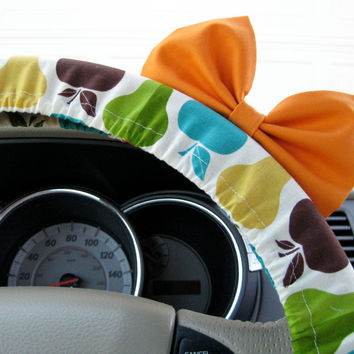 The Original Perky Fruit Steering Wheel Cover with Matching Bright Orange Bow