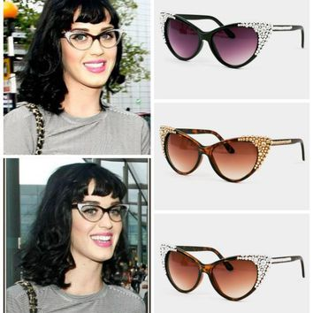 Katy Swarovski Crystal Embellished Cateye Sunglasses