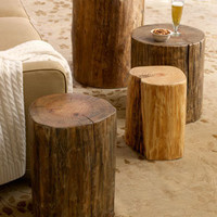 Wood Block Side Tables - Horchow
