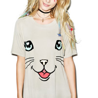 Wildfox Couture Happy Cat Perfect Tee Warm Cement