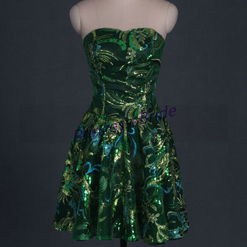 2014 short green tulle homecoming gowns with sequins,unique cute black satin dresses for party hot,chic discount prom dresses under 100.