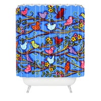 Renie Britenbucher Spring Birds and Blossoms Shower Curtain