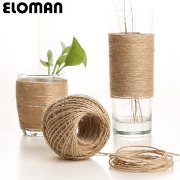 ELOMAN 10PCS 50M 1.5mm Natural Burlap Hessian Jute Twine Wedding DIY carft decorations