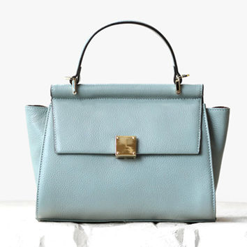 Fashionable Pale Blue Soft Blue Leather Tote. Genuine Leather Mini Ipad Leather Bag. Trendy Leather Handbag. Sling Bag