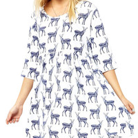 White Half Sleeve Deer Print Loose Dress