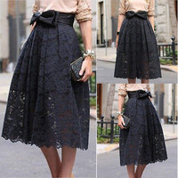 Women Lace High Waist Midi Skate Skirt Midiskirt Pleated Bust Cocktal BowSkirt